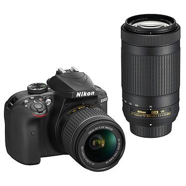 "Nikon D3400 + AF-P DX 18-55 VR + AF-P DX 70-300 VR negro 24.2 MP DSLR - Pantalla de 3"" - Vídeo Full HD - Bluetooth 4.1 - SnapBridge - AF-P DX 18-55 mm Objetivo VR + AF-P DX 70-300 mm Objetivo VR"