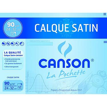 Canson Pochette calque satin 90g 24x32 Lot de 12 feuilles papier calque satin 90 g 24 x 32
