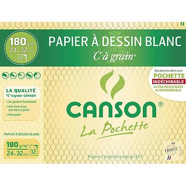 """Canson Pochette Papier dessin Blanc """"C"""" à grain (24 x32) Lot de 12 feuilles papier à dessin 180 g 24 x 32"""