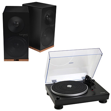 Audio-Technica AT-LP5 Noir + Tangent Spectrum X5 BT Phono Noir Platine vinyle à 2 vitesses (33-45 trs/min) + Enceinte bibliothèque Bluetooth (par paire)