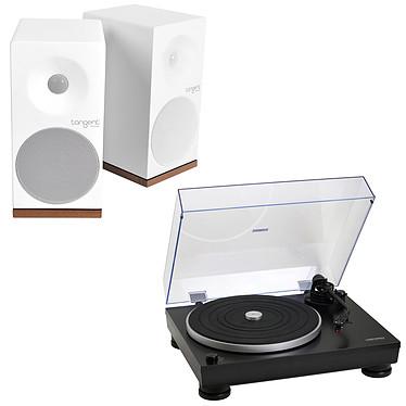 Audio-Technica AT-LP5 Noir + Tangent Spectrum X5 BT Phono Blanc Platine vinyle à 2 vitesses (33-45 trs/min) + Enceinte bibliothèque Bluetooth (par paire)