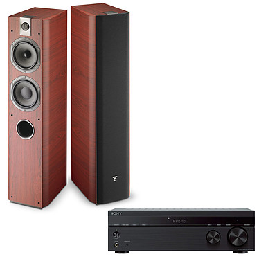 Sony STR-DH190 + Focal Chorus 716 Rosewood Amplificateur-tuner stéréo intégré 2 x 100 W avec technologie sans fil Bluetooth et entrée Phono + Enceinte colonne (par paire)