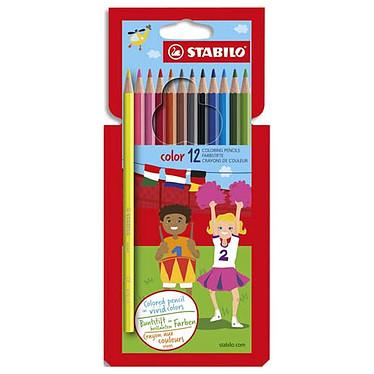 Stabilo Color - 12 crayons assortis Boîte de 12 crayons de couleur assortis dont 2 fluo