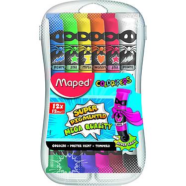Maped Boîte 12 Tubes Gouache Color'Peps Boîte en plastique de 12 tubes de gouache assortis