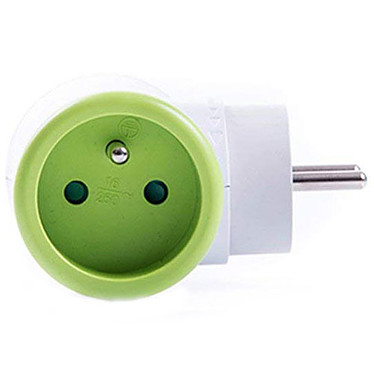 Watt&Co Biplite (vert) Multiprise avec tête rotative 180° et 2 prises 16A (coloris vert)