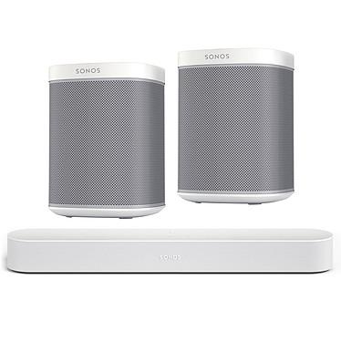 SONOS Beam Blanc + PLAY:1 Blanc (par paire) Barre de son compacte Wi-Fi, AirPlay, Ethernet avec Amazon Alexa et Google Assistant + Enceintes multiroom sans fil