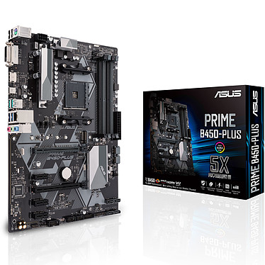 ASUS PRIME B450-PLUS Carte mère ATX Socket AM4 AMD B450 - 4x DDR4 - SATA 6Gb/s + M.2 - USB 3.1 - 1x PCI-Express 3.0 16x