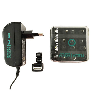Watt&Co Chargeur Universel 1500 mA Chargeur universel 1500 mA avec 19 fiches dont USB / Mini USB / Micro USB