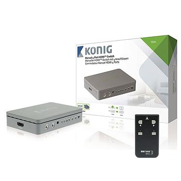 König Switch HDMI 2 ports avec télécommande Commutateur HDMI 2 ports compatible Ultra HD 4K et 3D avec télécommande