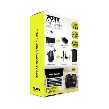 PORT Connect Type C + USB 3.0 Mobility Pack Pack avec Souris sans fil + Hub USB 3.0 + Convertisseur USC-C / USB + Écouteurs main libre + Housse de rangement