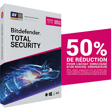 Bitdefender Total Security 2019 Offre Attachement - Licence 2 Ans 10 Appareils