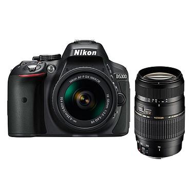 """Nikon D5300 + AF-P 18-55MM F/3.5-5.6G VR + Tamron AF 70-300mm F/4-5,6 Di LD MACRO 1:2 Réflex Numérique 24.2 MP - Ecran 3.2"""" - Vidéo Full HD + Objectif  AF-P 18-55MM F/3.5-5.6G VR + Télézoom compact"""