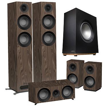 Jamo S 807 HCS Noyer + S 808 SUB Noir Pack d'enceintes 5.1 compatible Dolby Atmos avec caisson de basses 100 W