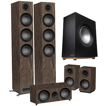 Jamo S 809 HCS Noyer + S 808 SUB Noir Pack d'enceintes 5.1 compatible Dolby Atmos avec caisson de basses 100 W