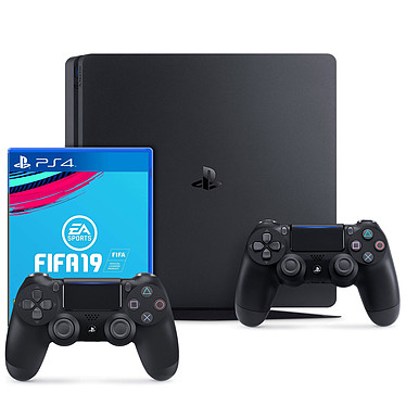 Sony PlayStation 4 Slim (1 To) + DualShock v2 +  FIFA 19 Console de jeux-vidéo nouvelle génération avec disque dur 1 To + 2 manettes sans fil + jeu FIFA 19
