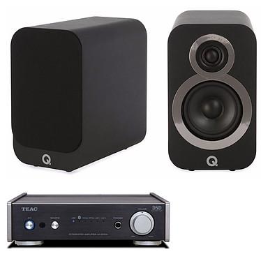 Teac AI-301DA Noir + Q Acoustics 3010i Noir Amplificateur stéréo de classe D, 2 x 60 Watts avec Bluetooth et USB + Enceinte bibliothèque compacte (par paire)