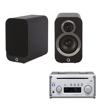 Teac CR-H101 Argent + Q Acoustics 3010i Noir Micro-chaîne CD/MP3/FM RDS, DAC USB 24/192kHz, Hi-Res Audio, Bluetooth aptX, amplificateur 2 x 26W, sortie subwoofer + Enceinte bibliothèque compacte (par paire)