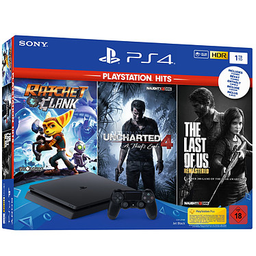 Sony PlayStation 4 Slim (1 To) + The Last of Us + Uncharted 4 + Ratched & Clank Console de jeux-vidéo nouvelle génération avec disque dur 1 To et manette sans fil + jeu The Last of Us + Uncharted 4 + Ratched & Clank