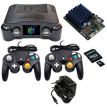 Odroid Game Station Turbo (Nintendo 64) Mini ordinateur console retrogaming de salon (carte Odroid XU4Q + boîtier Nintendo 64 + carte mémoire microSDHC UHS-I U1 16 Go + deux manettes GameCube + adaptateur secteur)