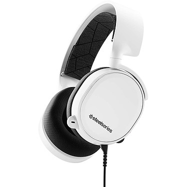 SteelSeries Arctis 3 2019 (blanc) Casque gaming - Circum-aural fermé - Son Surround 7.1 - Microphone bidirectionnel rétractable avec suppression du bruit - Jack - Compatible PC/Mac/Mobiles et consoles