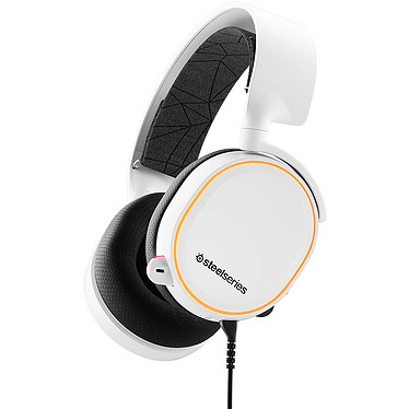 SteelSeries Arctis 5 2019 (blanc) Casque gaming RGB - Circum-aural fermé - Son Surround 7.1 - Microphone bidirectionnel rétractable avec suppression du bruit - Jack/USB - Compatible PC/Mac/Mobiles et consoles