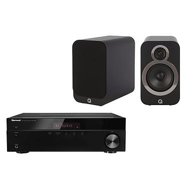 Sherwood RX-4508 + Q Acoustics 3010i Noir Amplificateur-Tuner stéréo Bluetooth 2 x 100 W + Enceinte bibliothèque compacte (par paire)