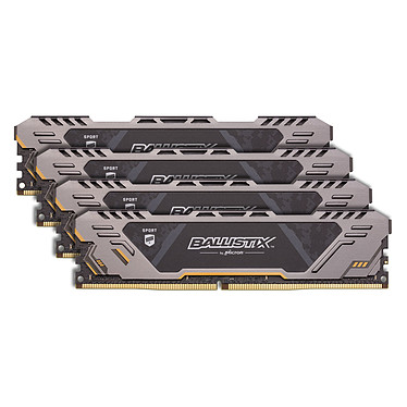 Ballistix Sport AT 64 Go (4 x 16 Go) DDR4 3000 MHz CL17 Kit Quad Channel RAM DDR4 PC4-24000 - BLS4C16G4D30CEST (garantie 10 ans par Crucial)
