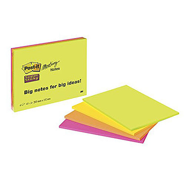 "Post-it Bloc Meeting Notes ""Super Sticky"" 203 x 152 mm Lot de 4 blocs de 45 feuillets 203 x 152 mm assortis"