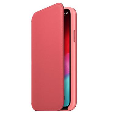 Apple Étui Folio en cuir Rose Pivoine Apple iPhone Xs Étui folio en cuir pour Apple iPhone Xs