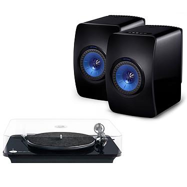 Elipson Omega 100 RIAA Noir + KEF LS50 Wireless Noir brillant / Bleu Platine vinyle à 2 vitesses (33-45 trs/min) avec pré-ampli intégré + Enceintes bibliothèques actives sans fil avec Wi-Fi et Bluetooth