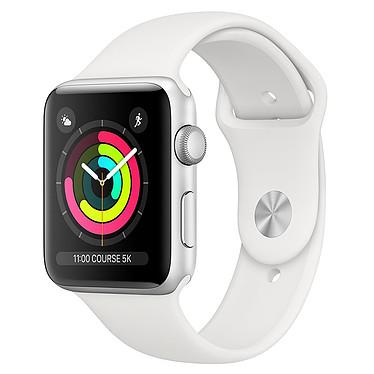 Apple Watch Series 3 GPS Aluminium Argent Sport Blanc 38 mm Montre connectée - Aluminium - Etanche 50 m - GPS/GLONASS - Cardiofréquencemètre - Ecran Retina OLED 340 x 272 pixels - Wi-Fi/Bluetooth 4.2 - watchOS 5 - Bracelet Sport 38 mm
