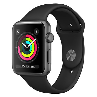 Apple Watch Series 3 GPS Aluminium Gris Sidéral Sport Noir 38 mm Montre connectée - Aluminium - Etanche 50 m - GPS/GLONASS - Cardiofréquencemètre - Ecran Retina OLED 340 x 272 pixels - Wi-Fi/Bluetooth 4.2 - watchOS 5 - Bracelet Sport 38 mm
