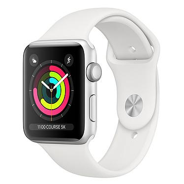 Apple Watch Series 3 GPS Aluminium Argent Sport Blanc 42 mm Montre connectée - Aluminium - Etanche 50 m - GPS/GLONASS - Cardiofréquencemètre - Ecran Retina OLED 390 x 312 pixels - Wi-Fi/Bluetooth 4.2 - watchOS 5 - Bracelet Sport 42 mm