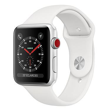 Apple Watch Series 3 GPS + Cellular Aluminium Argent Sport Blanc 42 mm  Montre connectée - Aluminium - Etanche 50 m - GPS/GLONASS - Cardiofréquencemètre - Ecran Retina OLED 390 x 312 pixels - Wi-Fi/Bluetooth 4.2 - watchOS 5 - Bracelet Sport 42 mm