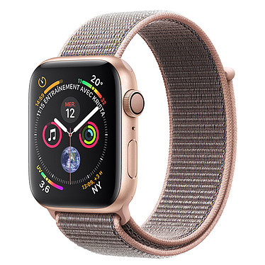 Apple Watch Series 4 GPS Aluminium Or Boucle Sport Rose 44 mm Montre connectée - Aluminium - Étanche 50 m - GPS/GLONASS - Cardiofréquencemètre - Écran Retina OLED 448 x 368 pixels - Wi-Fi/Bluetooth 5.0 - watchOS 5 - Bracelet Sport 44 mm