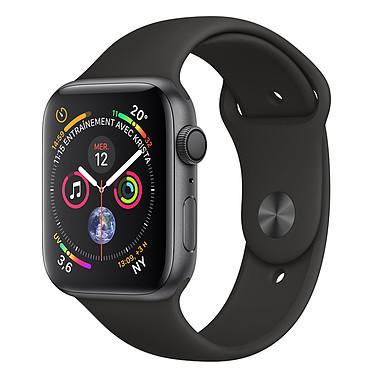 Apple Watch Series 4 GPS Aluminium Gris Sidéral Sport Noir 44 mm Montre connectée - Aluminium - Étanche 50 m - GPS/GLONASS - Cardiofréquencemètre - Écran Retina OLED 448 x 368 pixels - Wi-Fi/Bluetooth 5.0 - watchOS 5 - Bracelet Sport 44 mm