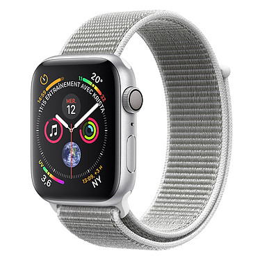 Apple Watch Series 4 GPS Aluminium Argent Boucle Sport Coquillage 40 mm