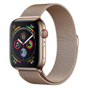 Apple Watch Series 4 GPS + Cellular Acier Or Milanais Or 44 mm Montre connectée - Acier inoxydable - Étanche 50 m - GPS/GLONASS - Cardiofréquencemètre - Écran Retina OLED 448 x 368 pixels - Wi-Fi/Bluetooth 5.0 - watchOS 5 - Bracelet Milanais Or 44 mm