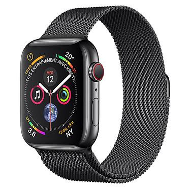 Apple Watch Series 4 GPS + Cellular Acier Noir Milanais Noir 44 mm