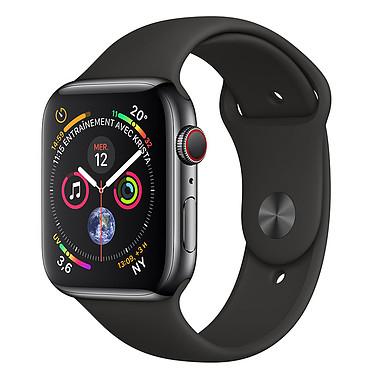 Apple Watch Series 4 GPS + Cellular Acier Noir Sport Noir 44 mm Montre connectée - Acier inoxydable - Étanche 50 m - GPS/GLONASS - Cardiofréquencemètre - Écran Retina OLED 448 x 368 pixels - Wi-Fi/Bluetooth 5.0 - watchOS 5 - Bracelet Sport noir 44 mm