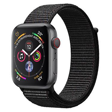 Apple Watch Series 4 GPS + Cellular Aluminium Gris Boucle Sport Noir 44 mm Montre connectée - Aluminium - Étanche 50 m - GPS/GLONASS - Cardiofréquencemètre - Écran Retina OLED 448 x 368 pixels - Wi-Fi/Bluetooth 5.0 - watchOS 5 - Bracelet Boucle Sport Noir 44 mm