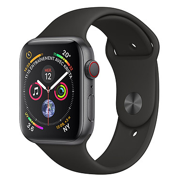 Apple Watch Series 4 GPS + Cellular Aluminium Gris Sport Noir 44 mm Montre connectée - Aluminium - Étanche 50 m - GPS/GLONASS - Cardiofréquencemètre - Écran Retina OLED 448 x 368 pixels - Wi-Fi/Bluetooth 5.0 - watchOS 5 - Bracelet Sport Noir 44 mm