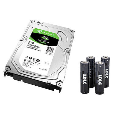 "Seagate BarraCuda 2 To (ST2000DM006) + 4 piles LDLC+ AA LR6 OFFERTES ! Disque dur 3.5"" 2 To 7200 RPM 64 Mo Serial ATA 6 Gb/s (bulk) + 4 piles alcalines offertes !"