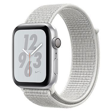 Apple Watch Nike+ Series 4 GPS Aluminium Argent Boucle Sport Blanc 44 mm Montre connectée - Aluminium - Étanche 50 m - GPS/GLONASS - Cardiofréquencemètre - Écran Retina OLED 448 x 368 pixels - Wi-Fi/Bluetooth 5.0 - watchOS 5 - Bracelet Boucle Sport Nike 44 mm
