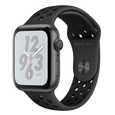 Apple Watch Nike+ Series 4 GPS Aluminium Gris Sport Anthracite/Noir 44 mm Montre connectée - Aluminium - Étanche 50 m - GPS/GLONASS - Cardiofréquencemètre - Écran Retina OLED 448 x 368 pixels - Wi-Fi/Bluetooth 5.0 - watchOS 5 - Bracelet Sport Nike 44 mm