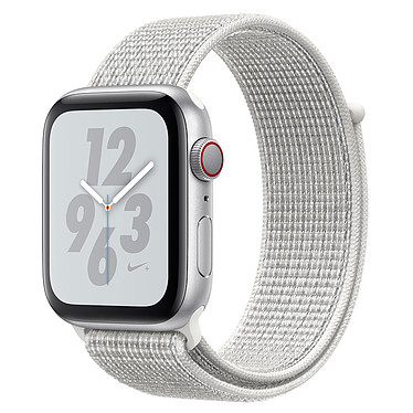 Apple Watch Nike+ Series 4 GPS + Cellular Aluminium Argent Boucle Sport Blanc 44 mm Montre connectée - Aluminium - Étanche 50 m - GPS/GLONASS - Cardiofréquencemètre - Écran Retina OLED 448 x 368 pixels - Wi-Fi/Bluetooth 5.0 - watchOS 5 - Bracelet Sport Nike 44 mm