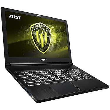 "MSI WS63 8SK-083FR Intel Core i7-8750H 16 Go SSD 256 Go + HDD 1 To 15.6"" LED Full HD NVIDIA Quadro P3200 6 Go Wi-Fi AC/Bluetooth Webcam Windows 10 Professionnel 64 bits (garantie constructeur 3 ans)"