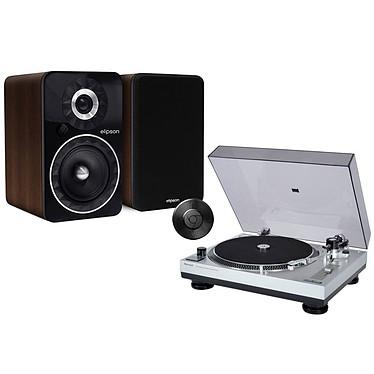Sherwood PM-9805 + Elipson Prestige Facet 6B BT Chromecast Noyer Platine vinyle + Enceintes sans fil Hi-Fi Bass Reflex actives avec Bluetooth aptX + Chromecast Audio