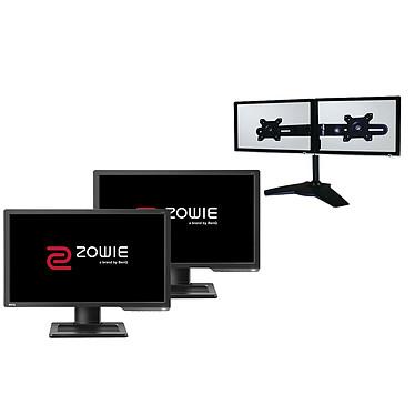 """BenQ Zowie 24"""" LED - XL2411P (x2) + LDLC Support 2 Écrans 1920 x 1080 pixels - 1 ms (gris à gris) - Format large 16/9 - DVI-DL/HDMI/DP - Pivot - 144 Hz - Ajustable en hauteur - Noir (garantie constructeur 3 ans) + Support de bureau pour 2 écrans plats"""