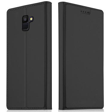 Akashi Folio Cartera Cartera Negra Galaxy J6 2018 Maletín con tarjetero para Samsung Galaxy J6 2018